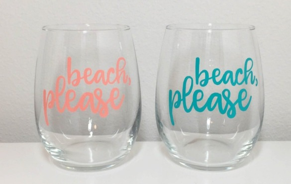 Beach please stemless wine glasses | Century 21 Action Topsail Realty