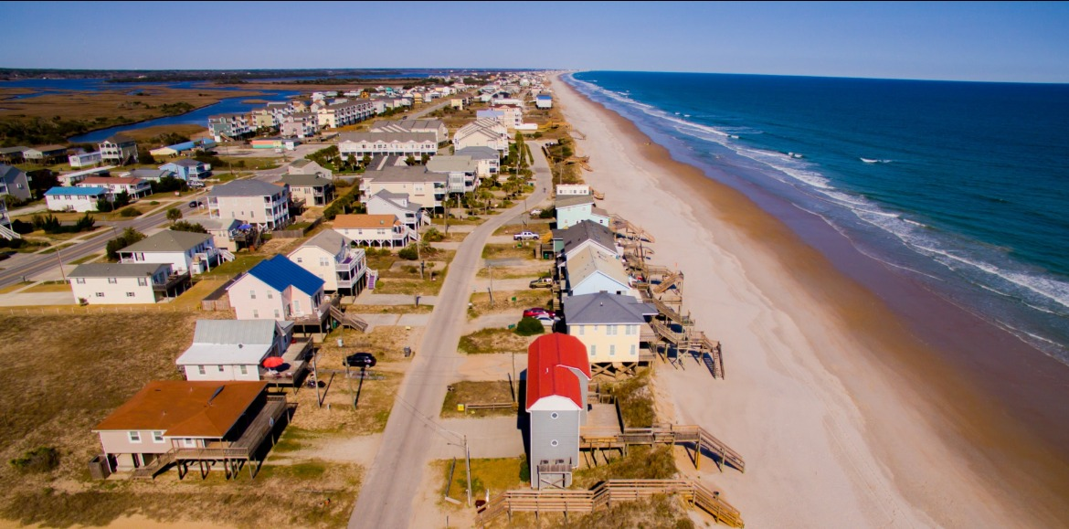 Aerial view of Topsail Island homes and beaches | Century 21 Action Topsail Island Real Estate